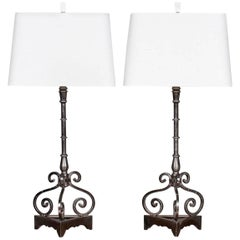 Pair of Modern Steel Iron Lamps Found in France