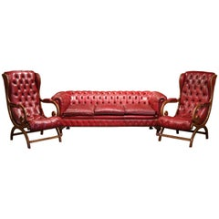 Mid-Century Three-Piece English Chesterfield Leather Armchairs and Sofa