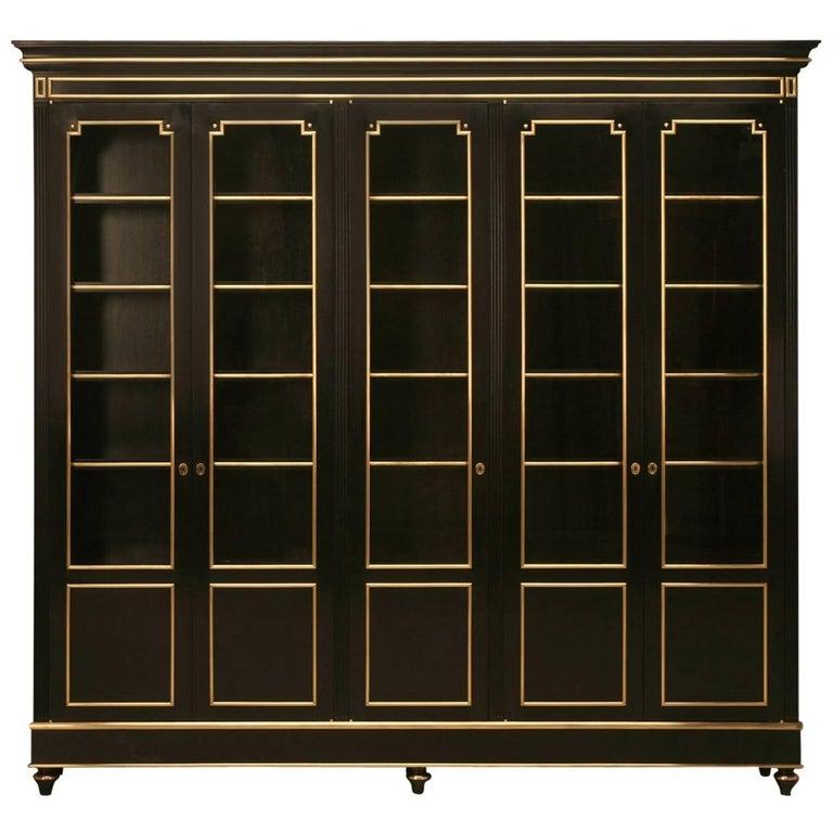 French Louis XVI Style Bookcase/China Cabinet, Ebonized Mahogany with Brass Trim