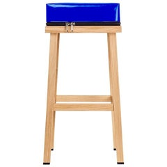 Visser and Meijwaard Truecolors High Stool in Blue PVC Cloth with Zipper