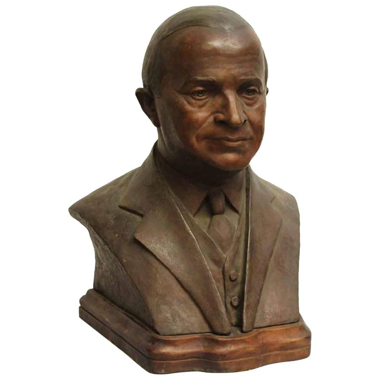 1920s Middle Age Gentleman's Bronze Bust Mounted on a Dark Wood Stand