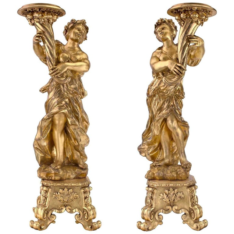 Pair of Italian Late 17th Century Baroque Period Giltwood Torchieres