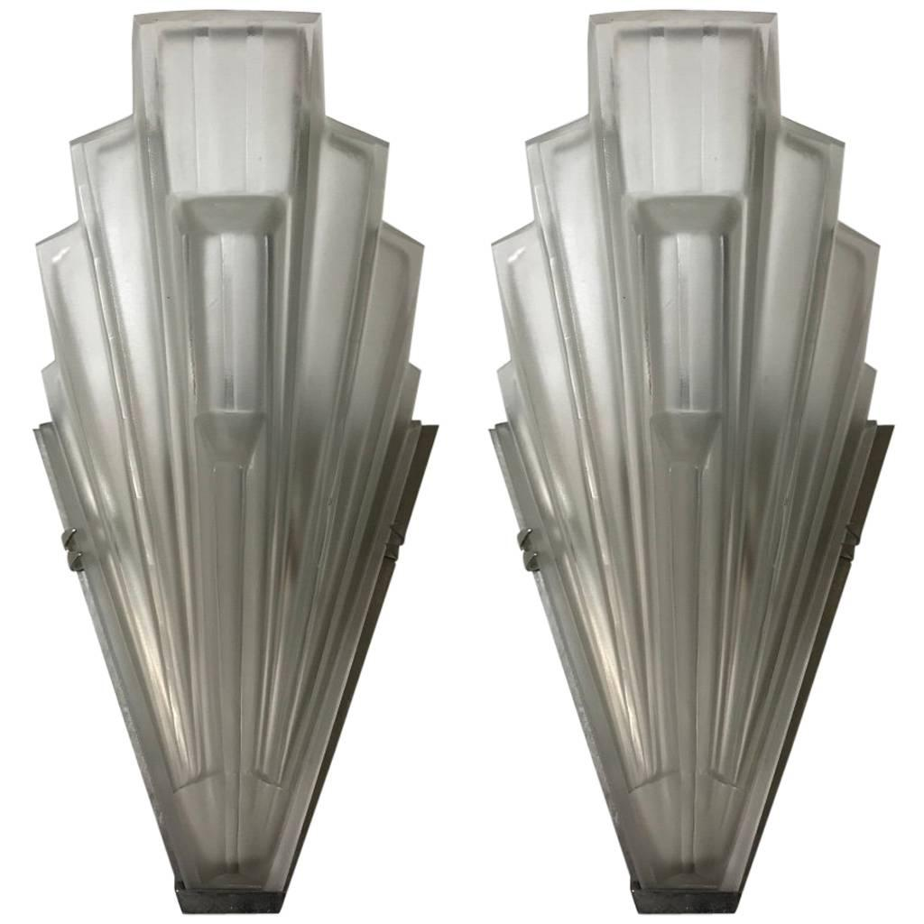 Pair of French Art Deco Skyscraper Sconces Signed by Sabino