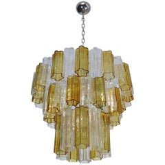 Large Three-Tier Venini Murano Glass Tube Chandelier, Venini Style