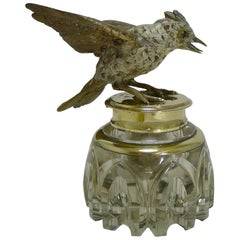 Antique Inkwell, Cold Painted Bronze Bird, circa 1890