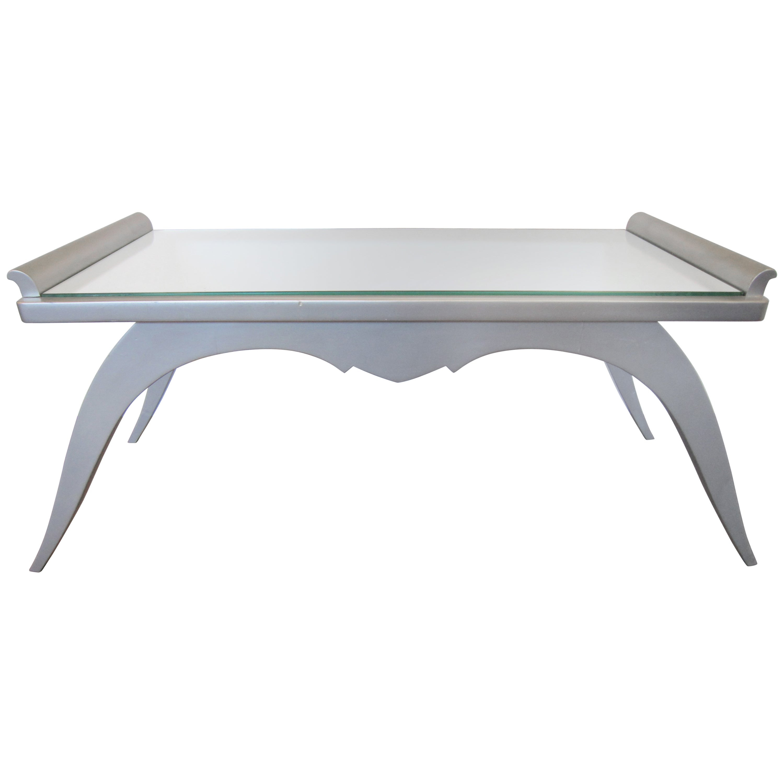 French Modern Silver Leaf Coffee Table with Mirror Top