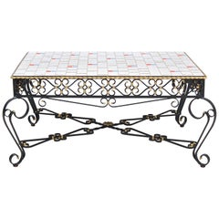 Wrought Metal Coffee Table with Mosaic Tiled Top, 1970s, France