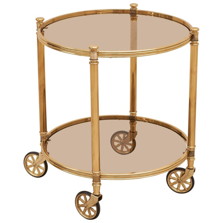 Two-Tier Circular Brass Bar Cart with Smoked Glasses, Italy, 1970s