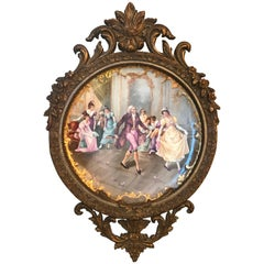 Large Limoges France Hand-Painted Porcelain Charger in Ornate Giltwood Frame