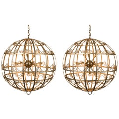 Pair of Vintage French Gold Metal Fixtures with Sputnik Lights, circa 1950