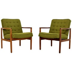 Mid-Century Modern Pair of Rare Florence Knoll Angled Wood Armchairs, 1960s