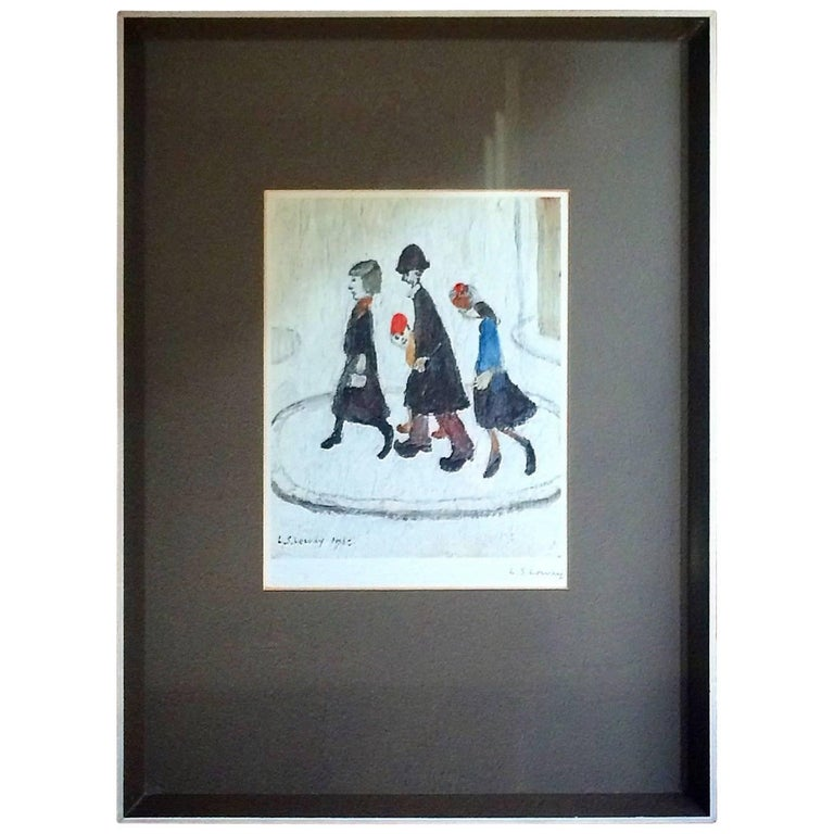 Brit Art L S Lowry the Family Print Ink Signed Mounted and Framed