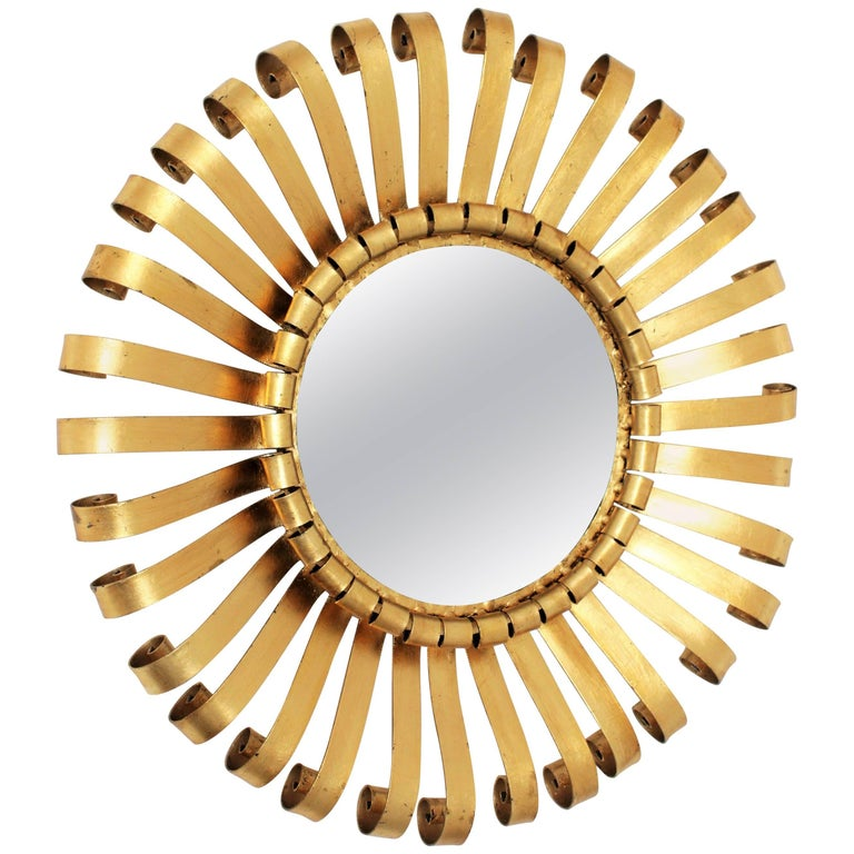 Spanish Brutalist Gilt Iron Scroll Sunburst Wall Mirror, 1960s