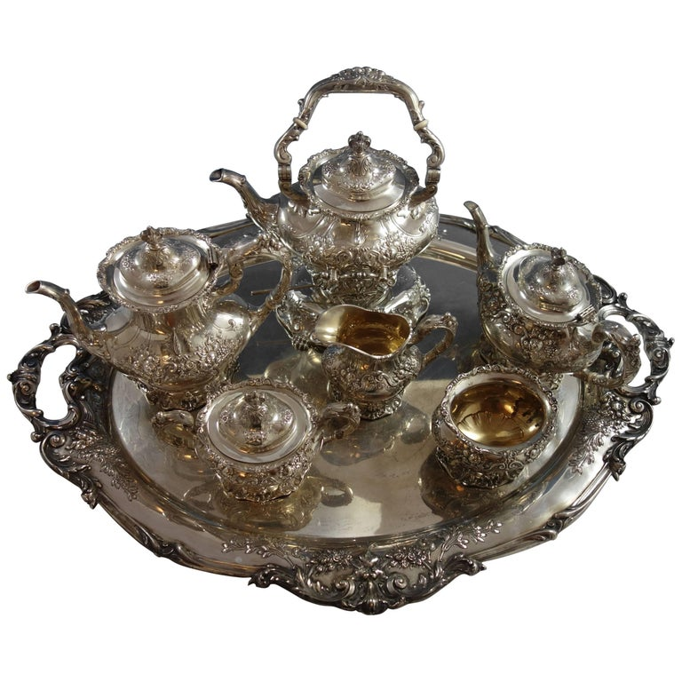 Francis I Reed & Barton Sterling Silver Six-Piece Tea Set with Tray, Hollowware