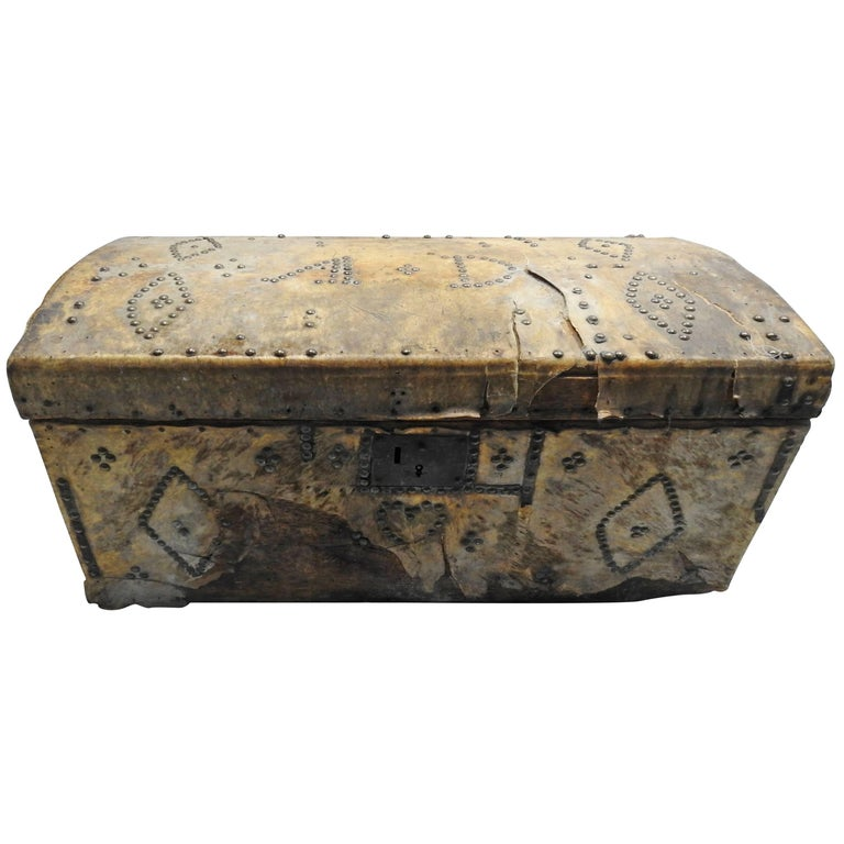 19th Century Spanish Colonial Trunk Covered in Hide