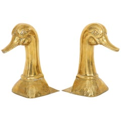 Pair of Polished Brass Duck Bookends by Sarried