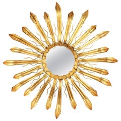 French, 1950s Gilt Iron Hand-Hammered Sunburst Mirror