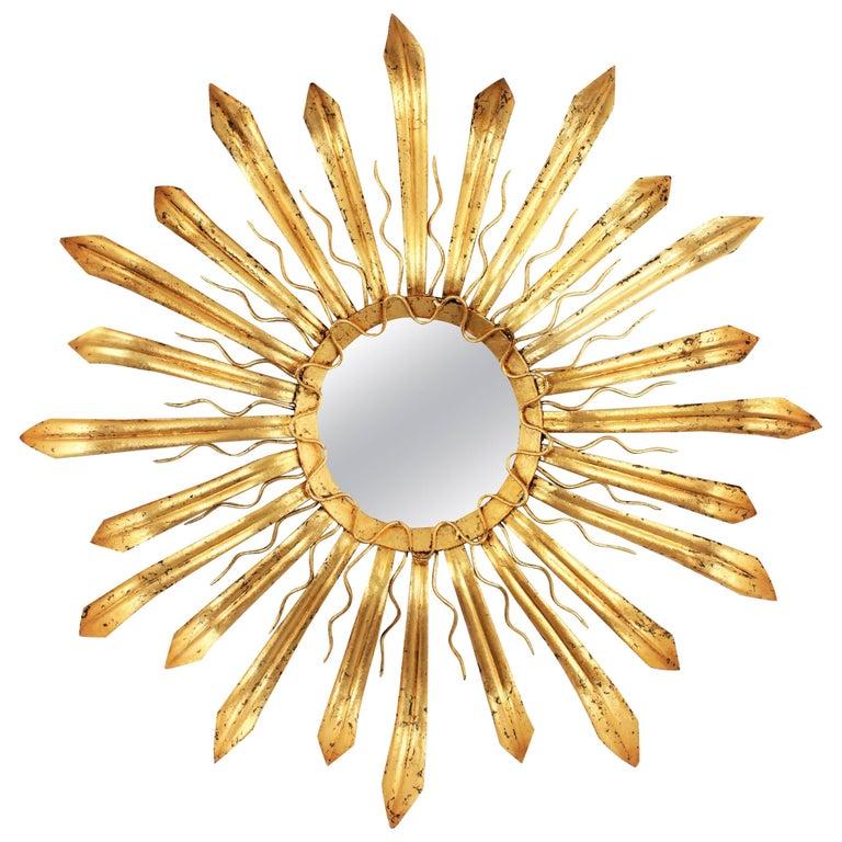 French, 1950s Gilt Iron Hand-Hammered Sunburst Mirror