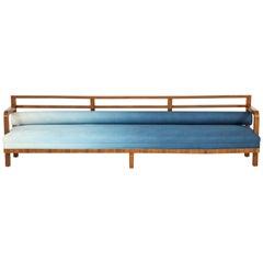 Long Art Deco Bench Upholstered in Ombré Linen
