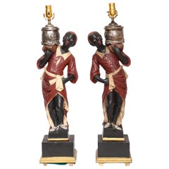 Superb Vintage Pair of Italian Blackamoor Table Lamps