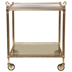 Superb Vintage Brass stone Two-Tier Cocktail Trolley