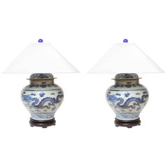 Superb 1940s Dragons Table Lamps with White Shades