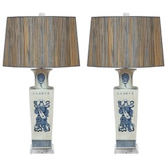Superb Pair of Warriors Chinese Table Lamps