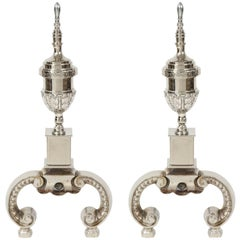 Art Deco Polished Nickel Andirons