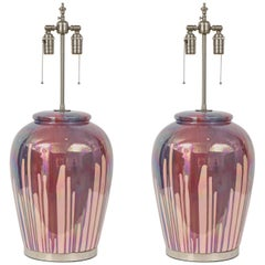 Italian Iridescent Drip Glaze Lamps