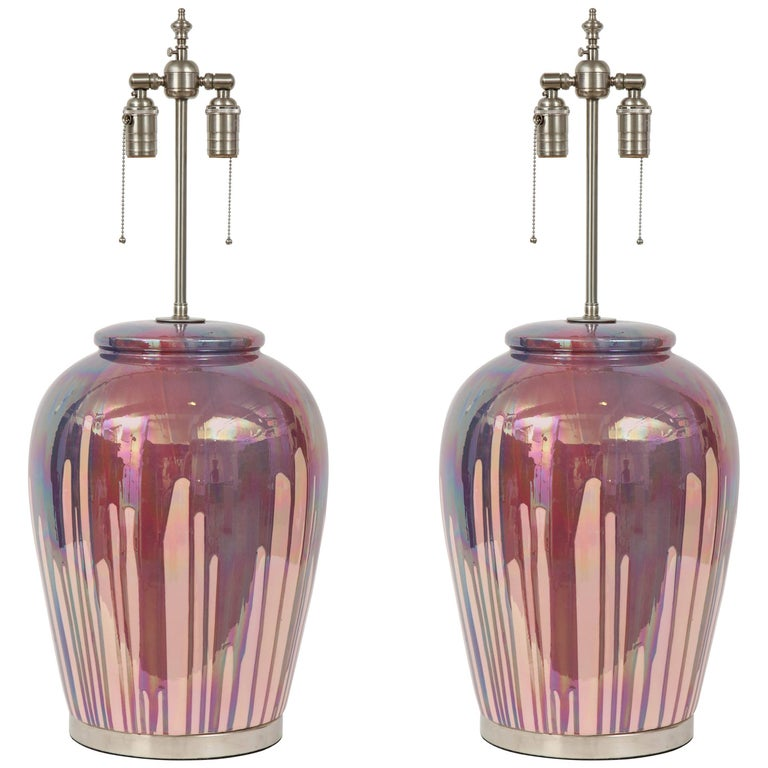 Italian Iridescent Drip Glaze Lamps For Sale
