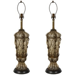 Marbro Caged Murano Glass Lamps