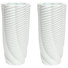 Pair of Rippled Porcelain Vases