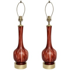 Barovier Ox Blood/ White Murano Glass Lamps