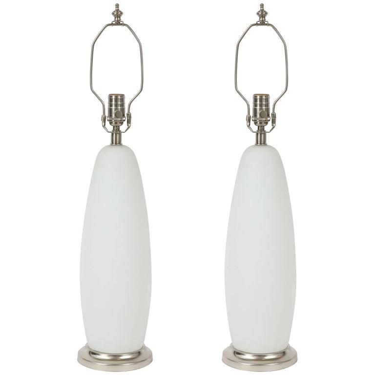 Vistosi Matte Finish White Murano Glass Lamps