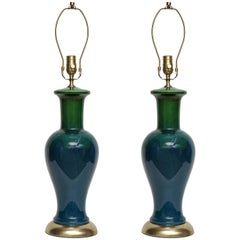 Blue/Green Ombre Glazed Lamps