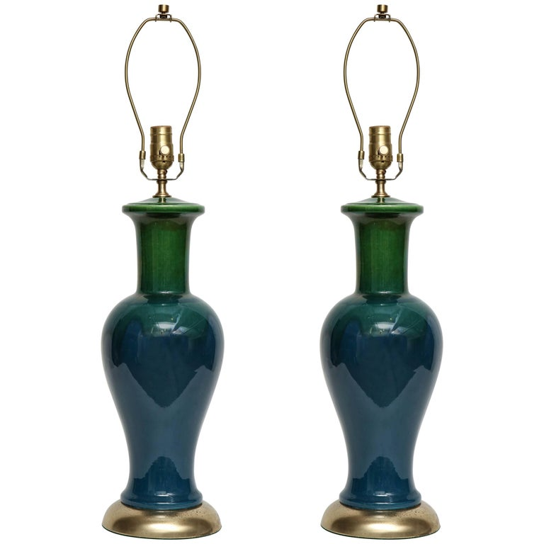 Blue/Green Ombre Glazed Lamps For Sale