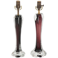 Pair of Swedish Flysfors Crystal Lamps