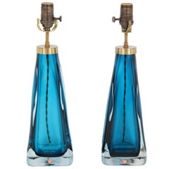 Pair of Blue Orrefors Crystal Lamps