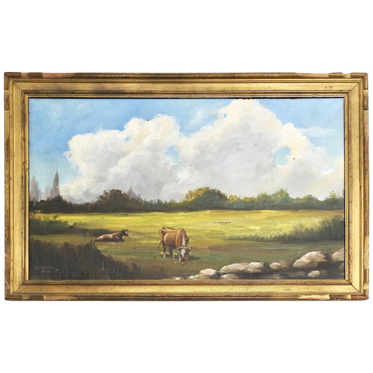Midcentury Signed Painting on Board J. Sanchez, 1949
