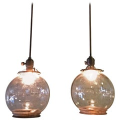 Pair of Open Clear Glass Globe Pendant Lights