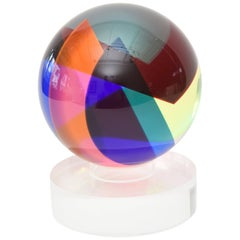 Signed and Dated Vasa Mihich Laminated Sphere Lucite Ball Sculpture