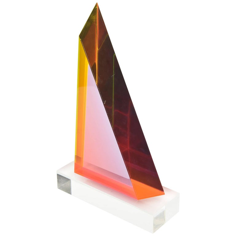 Signed Vasa Mehich Laminated Lucite Triangle Sculpture For Sale