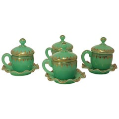 Set of Four Baccarat Chrysoprase 'Uranium' Covered Cups on stands