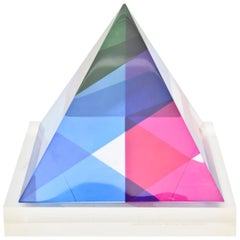 Signed and Dated Vasa Mihich Laminated Lucite Triangle Sculpture