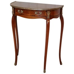 French Mahogany Parquetry Demilune Table