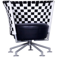 COR Circo Designer Armchair Black and White Leather One Seat Fabric Couch