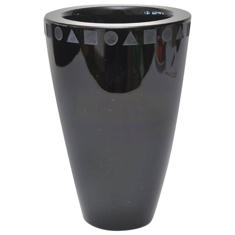 Ward Bennett For Sasaki Amethyst Black Glass Modernist Vase For Sale
