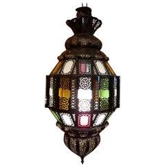 Turkish Moroccan Handmade Metal Lantern and Multi-Color Glass