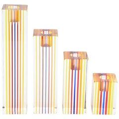 Four Graduated Vintage Optical Charles Hollis Jones Lucite Candlesticks