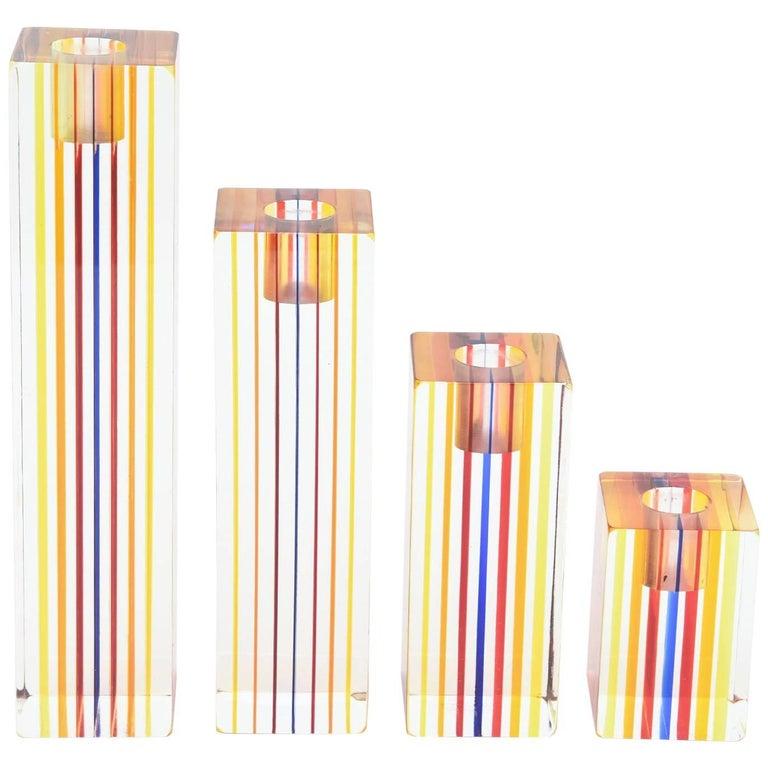 Four Graduated Vintage Optical Charles Hollis Jones Lucite Candlesticks / SALE